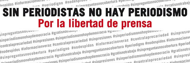 Día Mundial de la Libertad de Prensa . 3 de mayo . Sin Periodistas no hay Periodismo . Sin Periodismo no hay Democracia . Por la Libertad de Prensa #sinperiodistasnoperiodismo #WorldPressFreedomDay