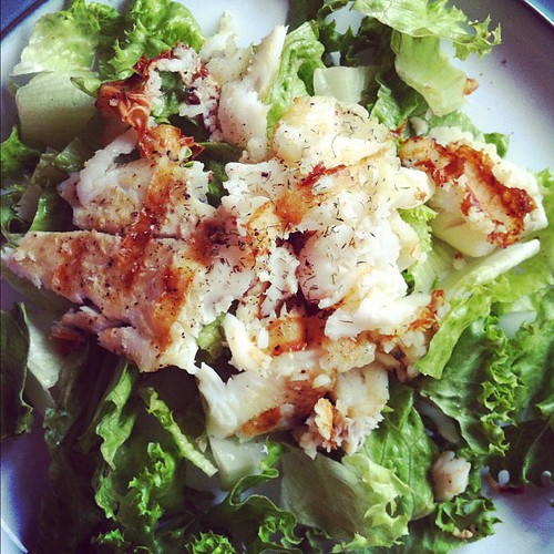late lunch or early dinner: sole fillet on leafy greens