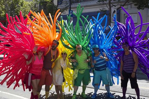 Six balloon costumes, six colors