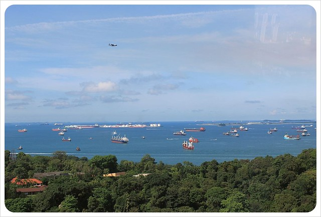sentosa island and freighter ships from cable car