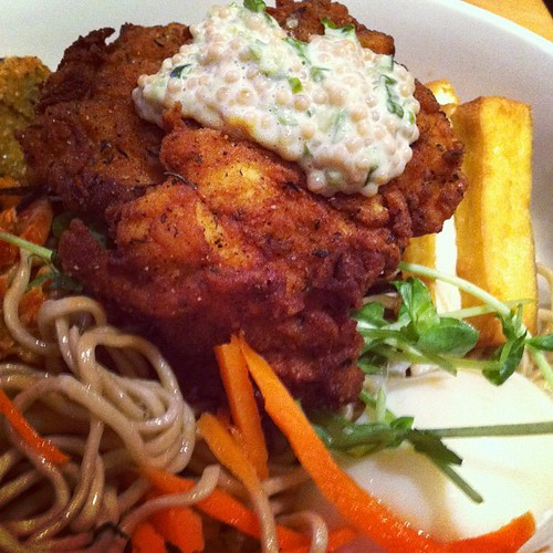 Vegetarian Dried Noodles with Fried Chicken Add-On: Boke Bowl