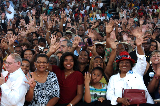 Supporters in Miami come out to see Michelle Obama