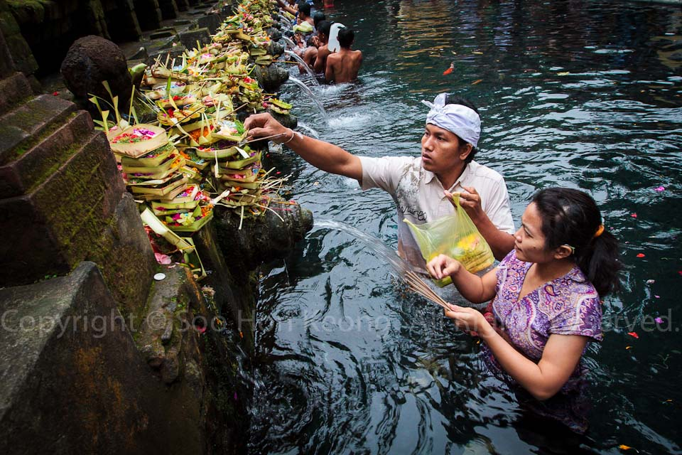 Start of Purifying @ Purifying Pool, Tirta Empul Temple, Bali, Indonesia