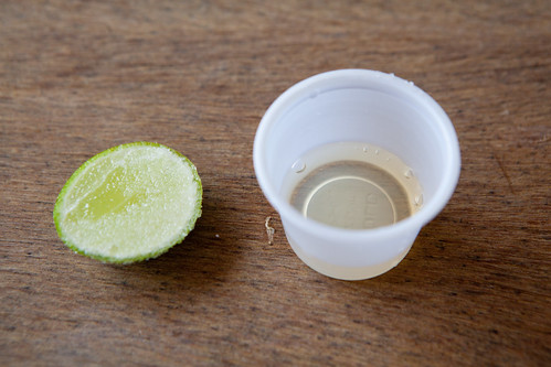 My shot of mezcal with salted lime