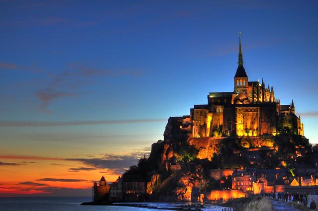 Mont St. Michel Castle Sunset HDR