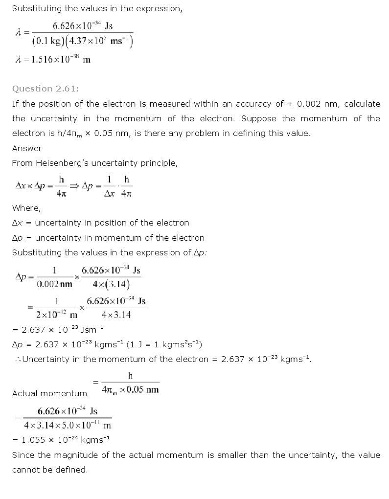 NCERT Solutions for Class 11th Chemistry Chapter 2 - Structure of Atom