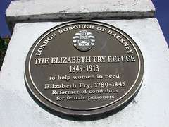Photo of Elizabeth Fry brown plaque