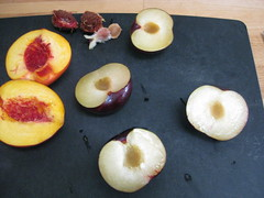 remove pits (plums are slightly more difficult, use a spoon if needed)