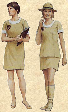 two white female park rangers in uniforms from the 1970s