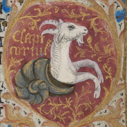 Zodiac sign of Capricorn in a 15th century manuscript