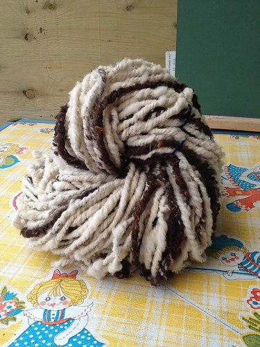 One whole Jacob yearling fleece, Navajo plied