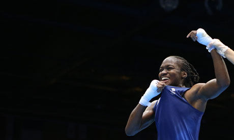 Nicola Adams celebrating her Olympic win