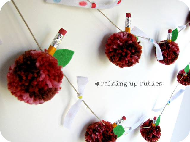 Back to school PomPom Garland DIY by Raising up Rubies