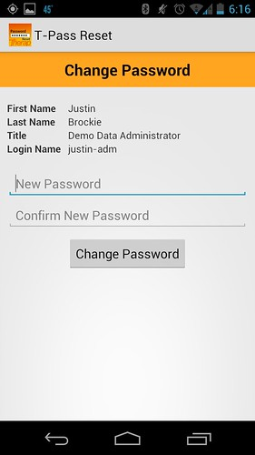 Screenshot of 'Change Password'
