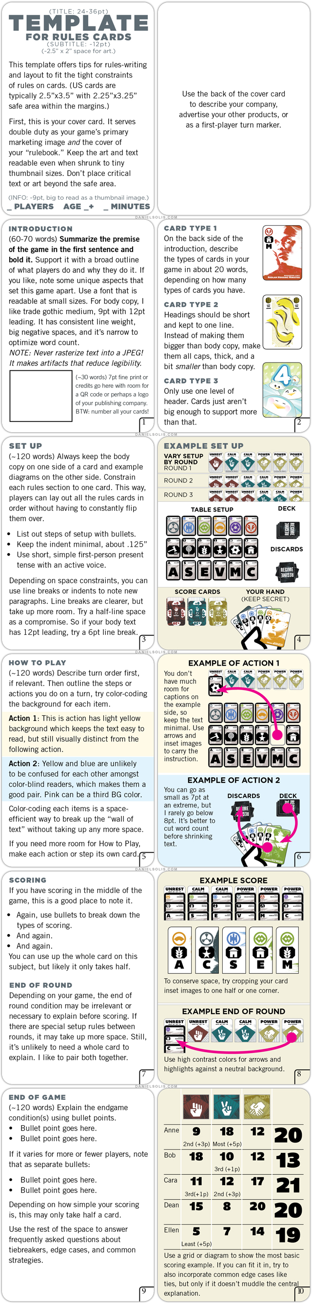Daniel Solis How To Write And Lay Out Rules On Cards Template