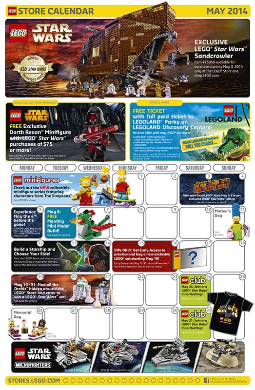 LEGO Shop May 2014 Calendar
