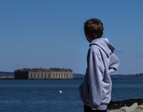 Boy Looking at Fort Gorges