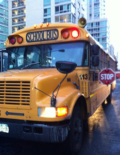 School bus outside of the London hotel in New York City taking video game journalists to a THQ press junket