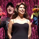 """The puppets of """"Avenue Q"""" (Kevin B. McGlynn) commiserate with Brooke Shields (Valerie Fagan) about whose life sucks more in """"Forbidden Broadway,"""" presented by the Huntington Theatre Company through at the Calderwood Pavilion at the Boston Center for the Arts. Part of the 2005-2006 season. Photo by Eric Antoniou."""