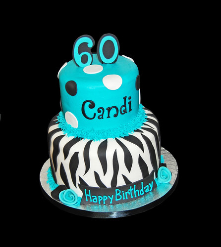 aqua and black zebra print 60th birthday cake