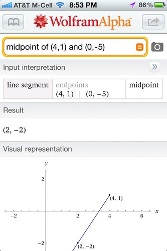Calculating a Midpoint with WolframAlpha