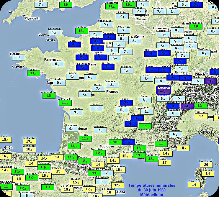 températures minimales fraîches et record de froid à Mouthe le 30 juin 1960 météopassion