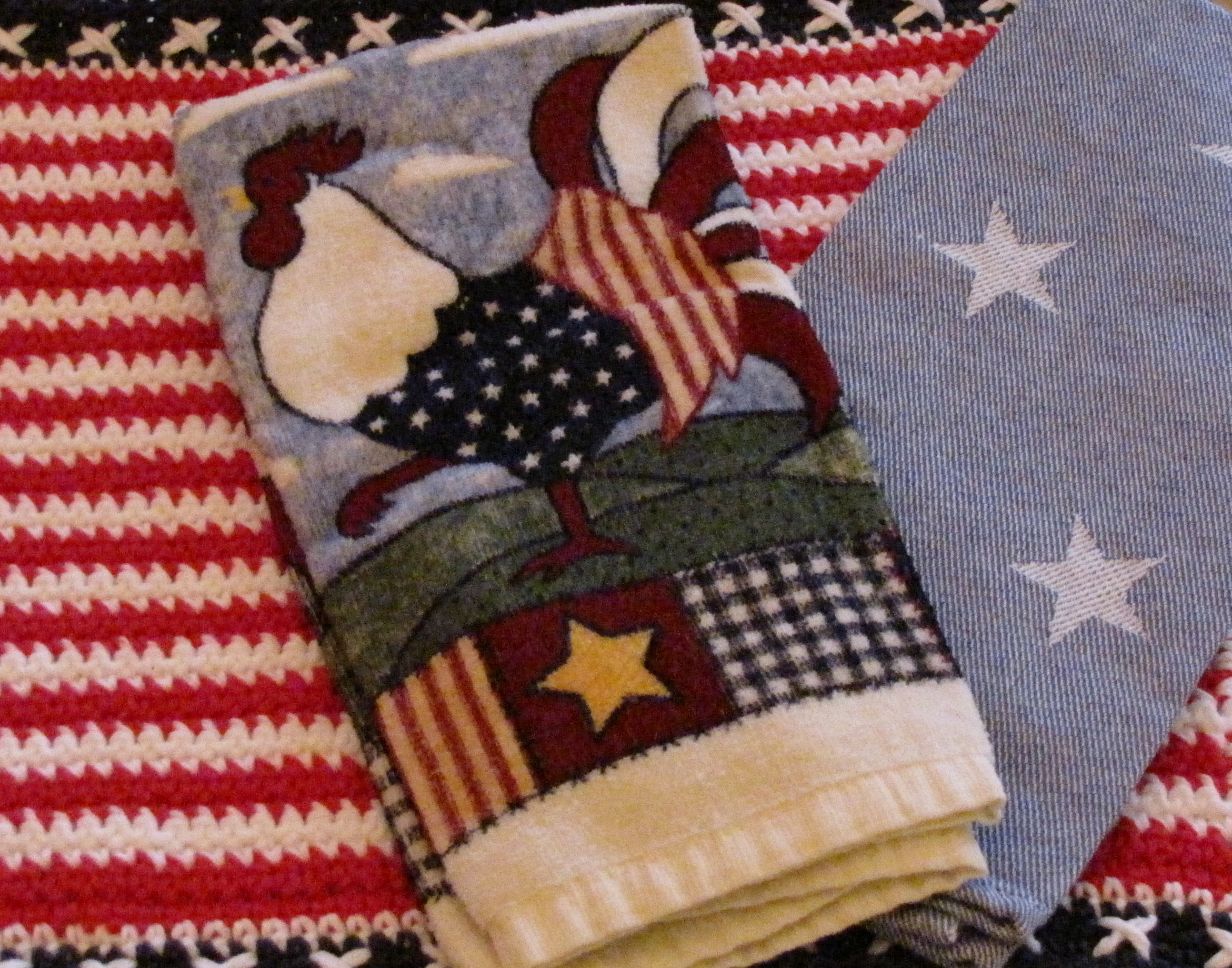 Red, White and Blue Place Mat and Kitchen Towels