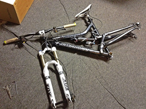 Fork, headset & bar installed.