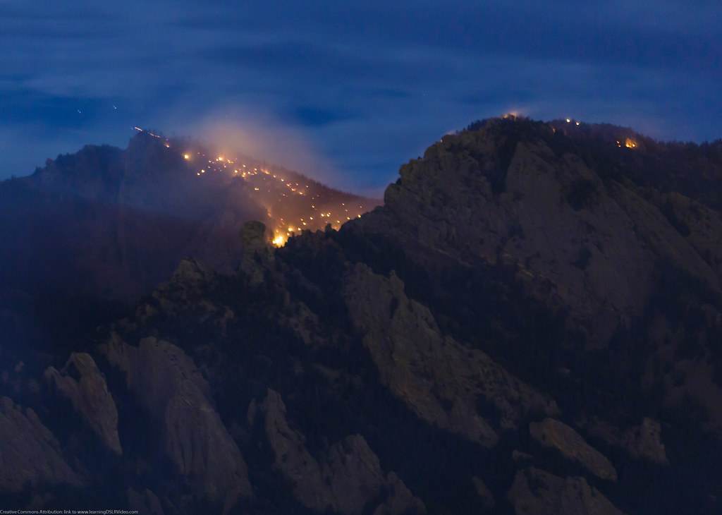 Flag Staff Fire Close Up from South Boulder at 11:04pm