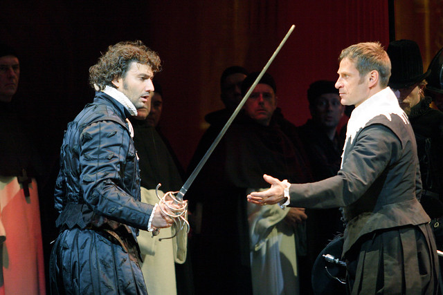 Jonas Kaufmann as Carlos and Simon Keenlyside as Posa in Don Carlos © Catherine Ashmore/ROH 2009