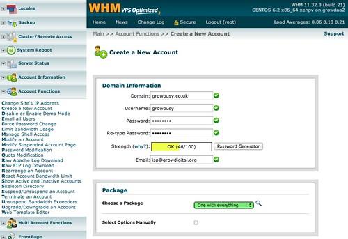 Create WHM accounts