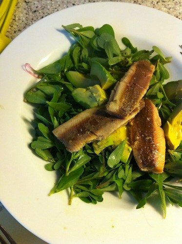 Purslane avocado & sardine salad