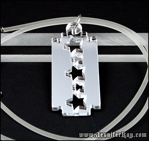 Mirror Star Razor Blade Lasercut Acrylic Necklace by JenniferRay.com
