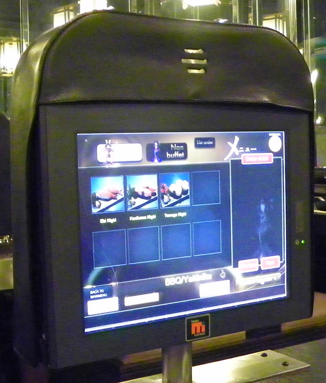 Placing orders on the touchscreen