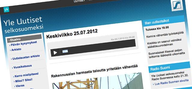 La web de Yle en versión finés fácil