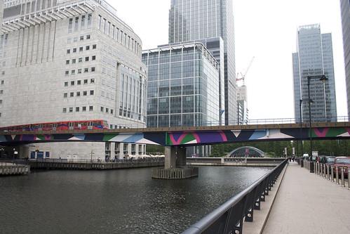 Garish paint design on DLR bridge
