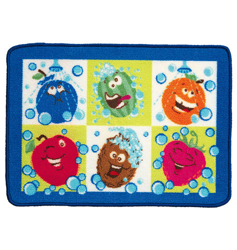 Brighten up the bath with a colorful spot for drying off. Extra absorbent and soft on kids' skin, these versatile mats are a bathroom must-have. DETAILS THAT MATTER • Richly textured with highs and lows. • Natural latex backing is sl.