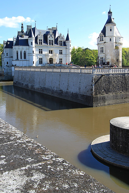 The moats around the Château de Chenonceau in the Loire Valley, France.