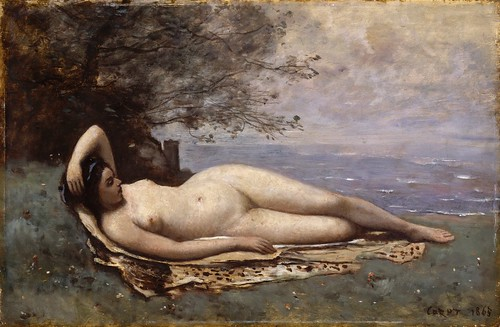 Camille Corot - Bacchante by the Sea [1865] by Gandalf's Gallery