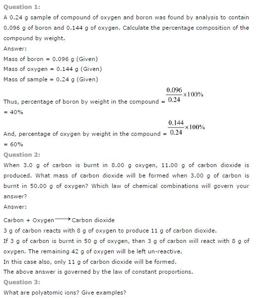 Ncert Solution For Class 9th Chapter 3 Atoms And Molecules