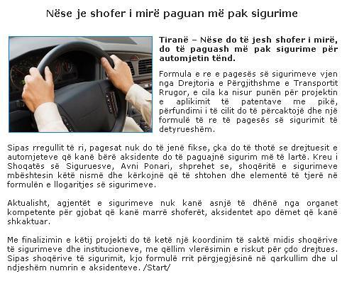 Nëse je shofer i mirë paguan më pak sigurime