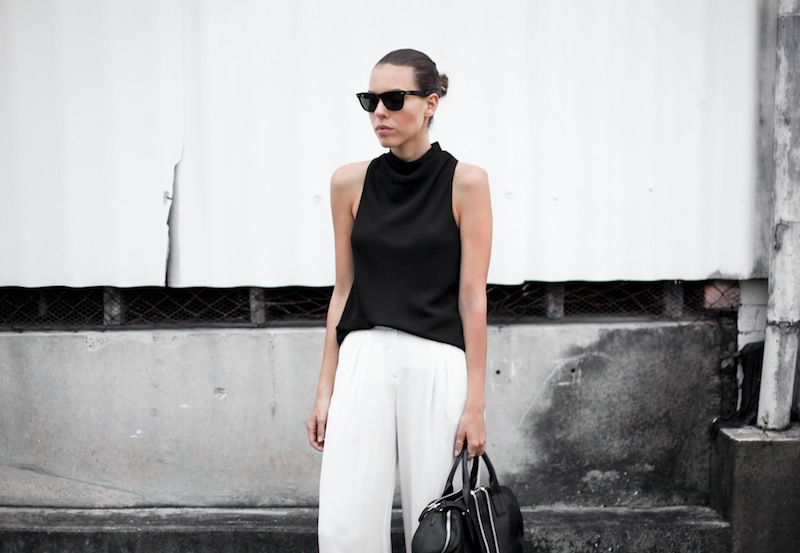 modern legacy australian fashion blog street style workwear Camilla and Marc Assent high neck top Sass and Bide wide leg silk pants ATP sandals oversized Ray Ban wayfarers Alexander Wang chain tote bag monochrome black white (3 of 3)