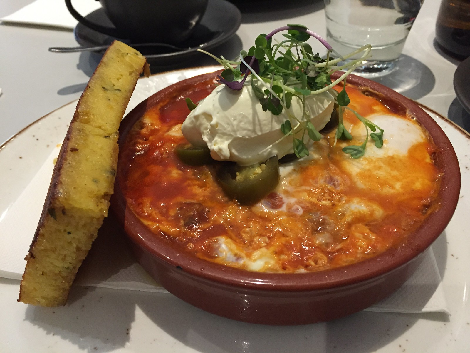 Baked eggs in tomato sauce, corn and braised ox tongue - Operator 25 Melbourne CBD