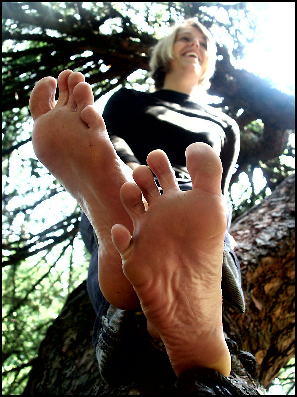 Blonde soles bare feet consider