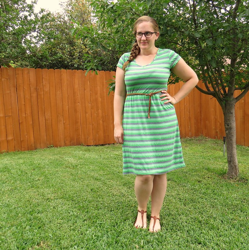 Green Striped Dress Refashion - After