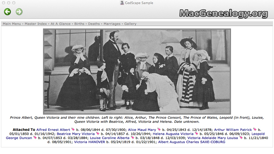 Mac Genealogy Software - GedScape  Gallery Example