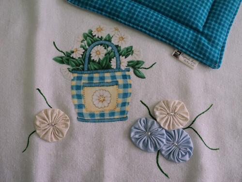 Pano de Prato Cesto de Flores by Fazendo Arte by Ana Tulio