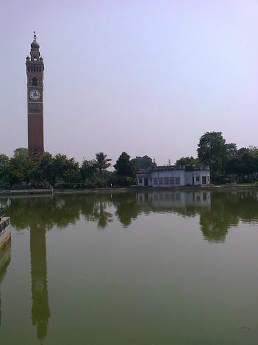 india reflection tower heritage clock nokia pond historic clocktower lucknow uttarpradesh oudh nawab awadh hussainabad