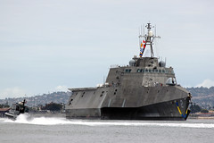 SAN DIEGO (May 2, 2012) The littoral combat ship USS Independence (LCS 2) arrives in her homeport of San Diego, marking the completion of her maiden voyage. (U.S. Navy photo by Senior Chief Mass Communication Specialist Robert Winkler)