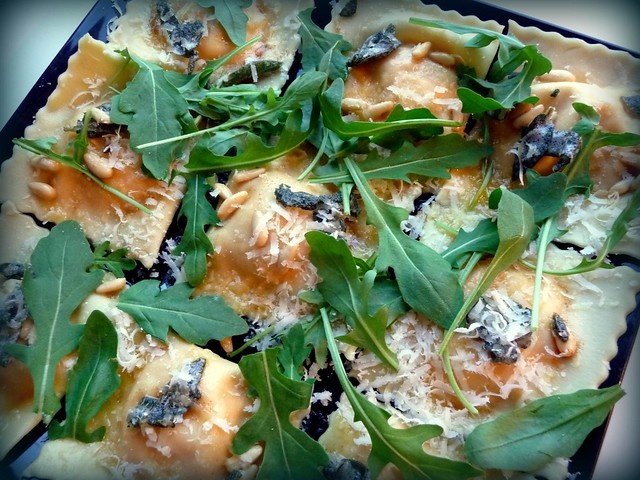 Butternut squash and ricotta ravioli with sage and pine nut butter ...